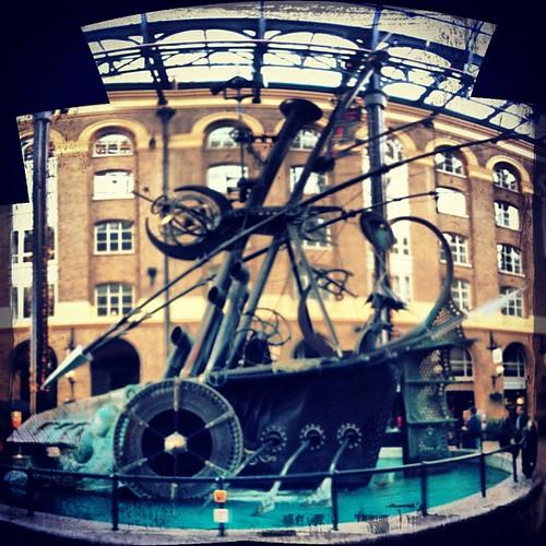 Steampunk warship.