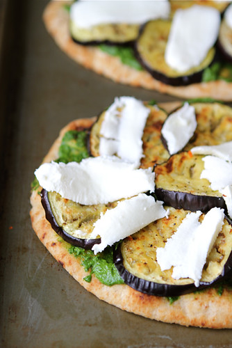 Vegetarian Naan Pizza with Eggplant & Cilantro Jalapeno Pesto