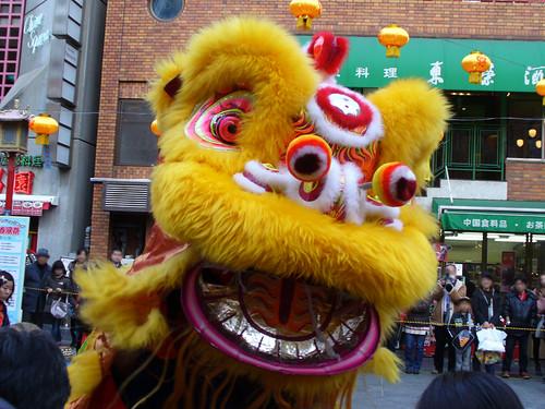 神戸、南京町の興隆春風祭 龍獅団による獅子舞