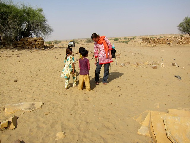 Village kids outside Jaisalmer, India