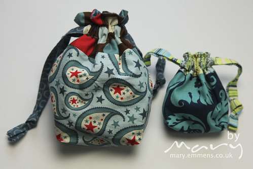 Lined drawstring bags - snack and tiny