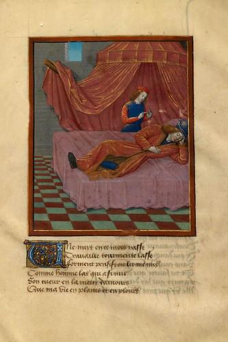 001-Rene duerme en su cama y Deseo de pie ante el-detalle-fol 1-Le livre du Coeur d'amour épris, par le roi René d'Anjou-1460-BNF