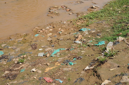Open defecation along the river bank