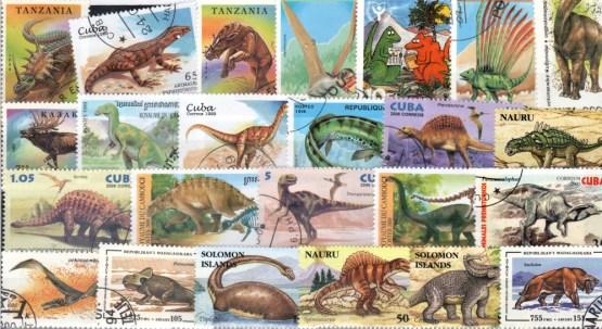 Známky - 50 rôznych, praveké zvieratá - dinosaury