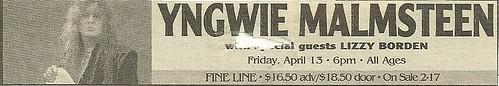04-13-06 Yngwie Malmsteen/Lizzy Borden @ Fine Line, Mpls, MN (Cancelled)