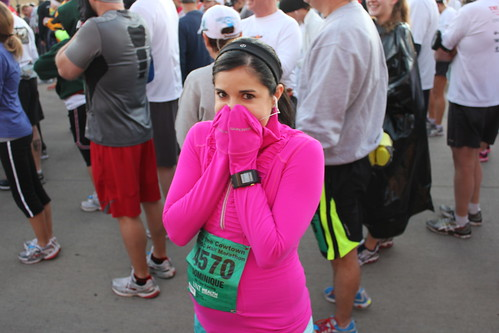 Trying to stay warm at the start line