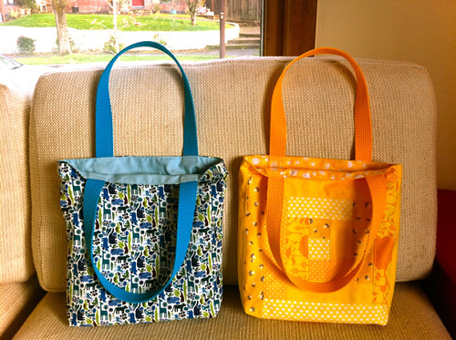 two tote bags for the littlest warriors - linings