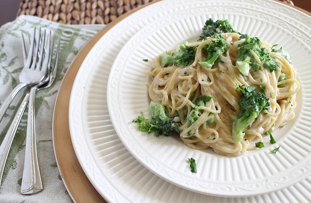 Lightened up spaghetti alfredo