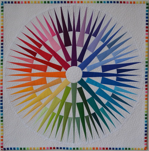 Rainbow Compass Mini Quilt: Front