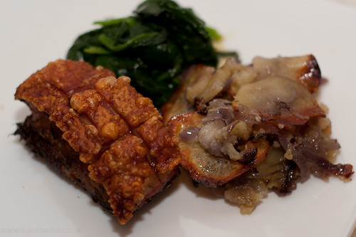 Pork belly, boulangere potatoes, spinach
