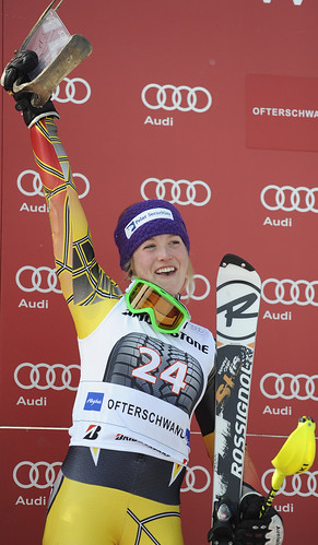 Erin Mielzynski celebrates her first World Cup podium.