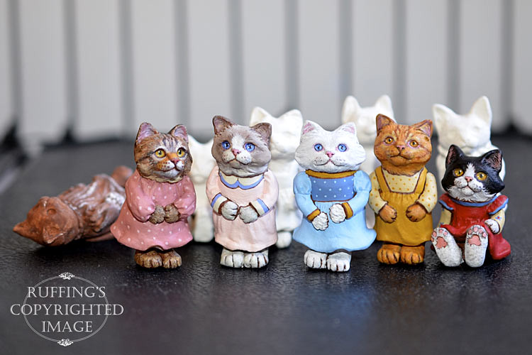 Original One-of-a-kind miniature dollhouse-sized cat and kitten dolls by Max Bailey