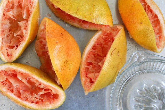 grapefruits, having been squeezed