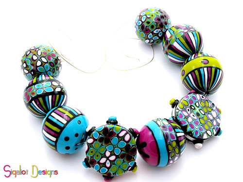 round striped beads mix1-3