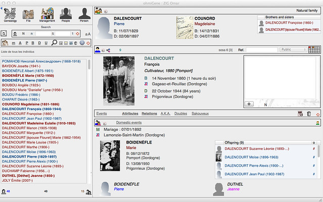 Mac Genealogy Software - ohmiGene 5 Main