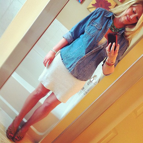 Saturday ootd: VS sequinned tank dress, vintage Levi's denim shirt, Guess sandals.  I think I'm gonna be cold!