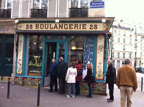 Christine in line at Boulangerie 28