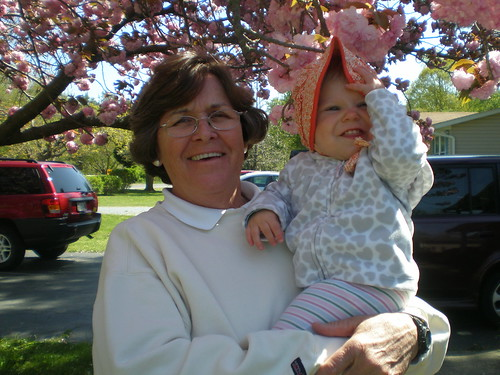 Maureen hating her Easter bonnet with Nana