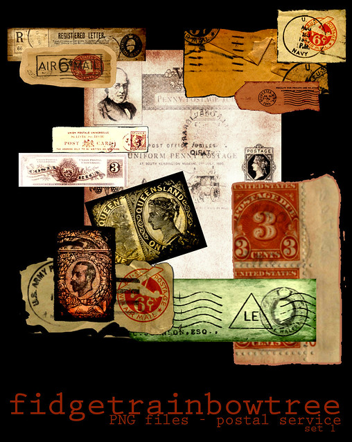 Vintage Postal Digital Collage Kit #1 - FREE
