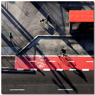 With legs, with dog, with bike .. with shadows