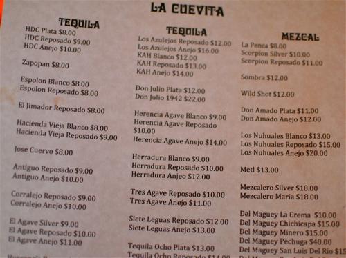 La Cuevita Tequila Menu