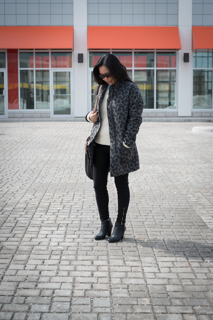 leopard coat and chunky knit