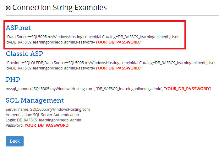 Error fix connection string on mywindowshosting.com | The ...
