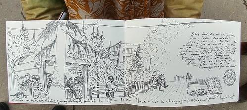 Bukia Square Garden sketched by Ulrika Bohnet.