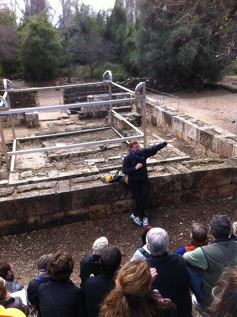 Richard Pratt lecturing at the ancient temple at Dan