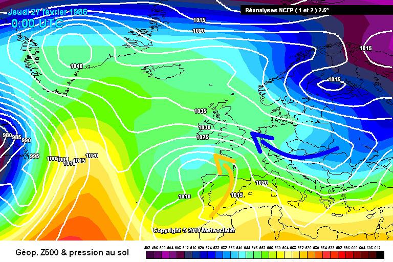 carte de situation en fin de la vague de froid de février 1986 météopassion