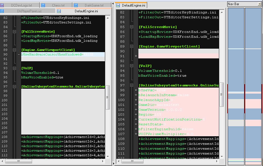 Comparing old and new DefaultEngine.ini files in Notepad++