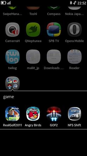 Nokia N9 App folders