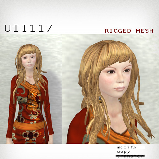 booN UII117 hair RIGGED MESH