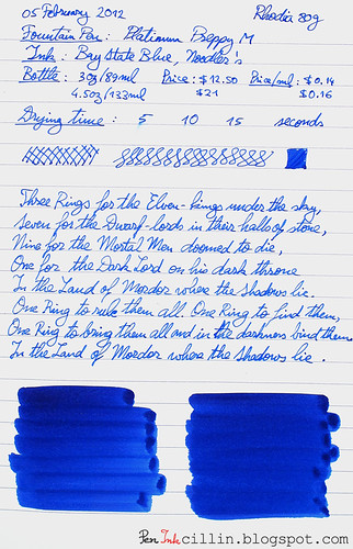Noodler's Baystate Blue on Rhodia