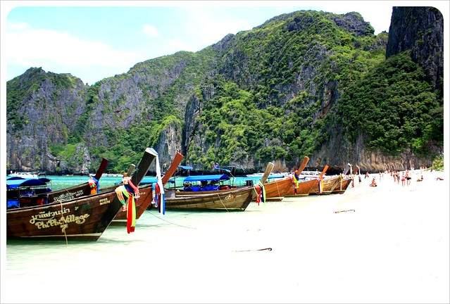 maya bay with longtail boats