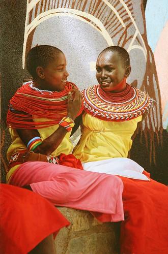 """'Friendship - Samburu Girls' oil on board 23¼"""" x 16"""
