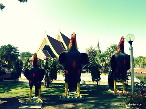 Cock Statues near Wat Yai Chai Mongkhon