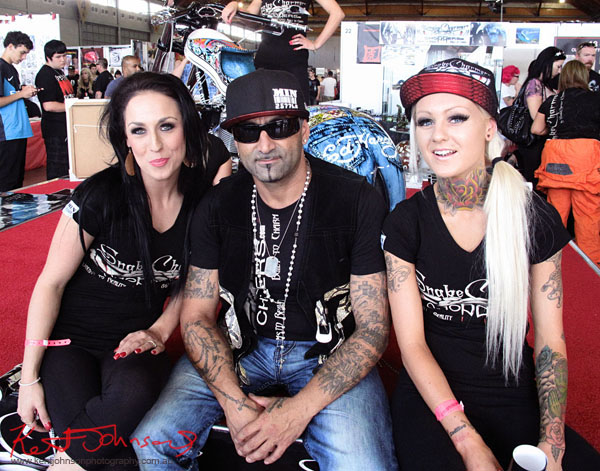The Tattoo'd crew from 'Snake Charmer Choppers', at2012 Sydney Tattoo & Body Art Expo by Kent Johnson