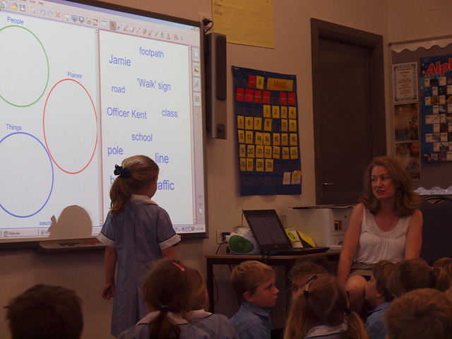 keira uses the smart board