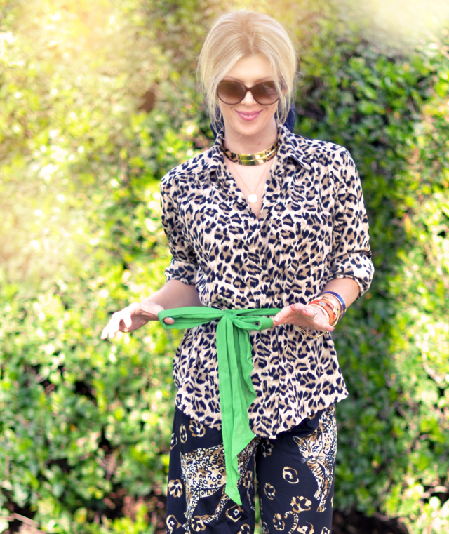 leopard print and green