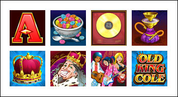 free Rhyming Reels Old King Cole slot game symbols