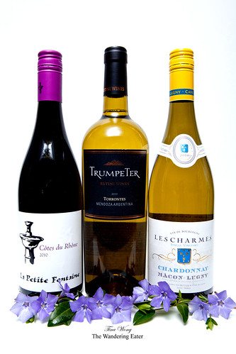 La Petite Fontaine, Trumpeter Torrontes 2010, Les Charmes Unoaked Chardonnay