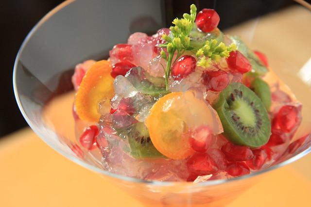 Kiwiberry, Kumquat and Pomegranate Kanten