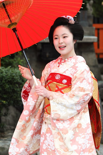 Maiko with an umbrella
