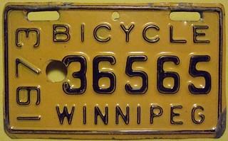 WINNIPEG MANITOBA 1973 ---BICYCLE LICENSE PLATE