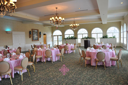Stonewall Golf Club ballroom set in pink pintuck linens Diamond Events
