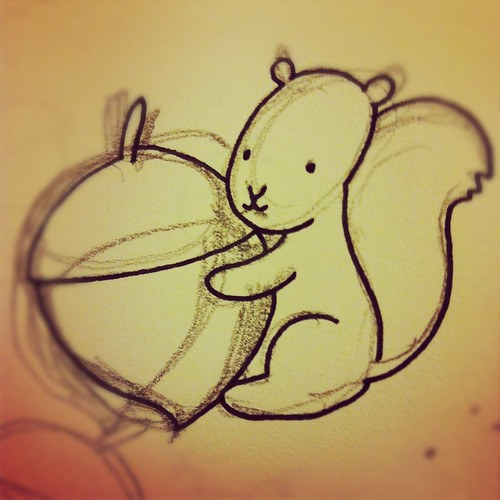 Acorn and squirrel drawing.