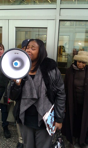 Michelle Garrett speaking in defense of her parent's home in front of the building that houses Bank of New York Mellon Trust in downtown Detroit. The home was saved on Jan. 31, 2012. (Photo: Abayomi Azikiwe) by Pan-African News Wire File Photos