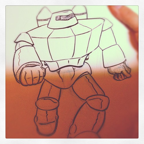 First fighting giant robot I've drawn in years. In progress.