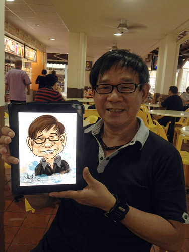 digital live caricature sketching on iPad Sketchbook Pro of Eddie Quek